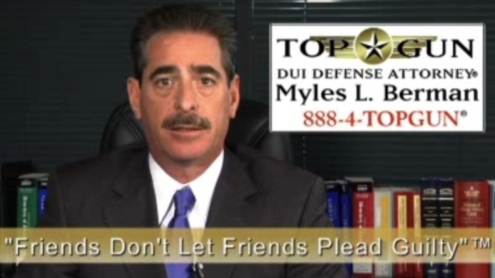 Myles L. Berman® is known as the Top Gun DUI Defense Attorney®.  To contact the Law Offices of Top Gun DUI Defense Attorney® Myles L. Berman®, please call (888) 4-TOPGUN® or visit our website at TOPGUNDUI.COM.